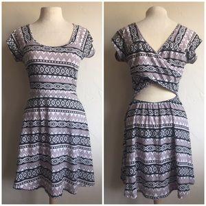 Tribal pattern cross over open back dress
